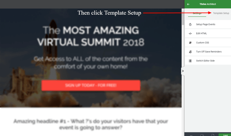 Open the Template Setup in Thrive Architect